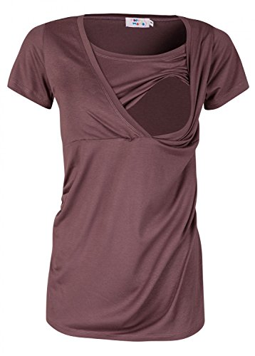 Happy Mama Femme. Top de maternité. T-shirt d'allaitement double épaisseur. 790p Cappuccino