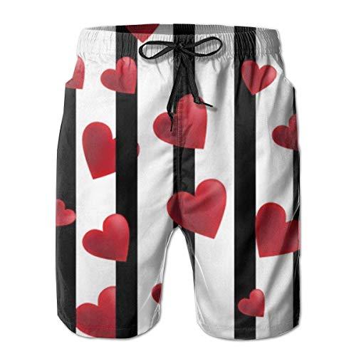 OPoplizg Boys Board Shorts Black White Stripes Hearts Quick Dry Swim Surf Trunks,L -
