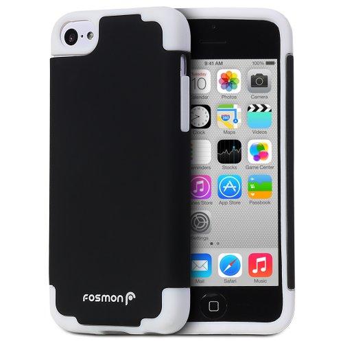 Fosmon HYBO-DUOC Abnehmbar Hybride TPU + PC Case Cover hülle für iPhone 5c - Weiß / Schwarz weiß / schwarz