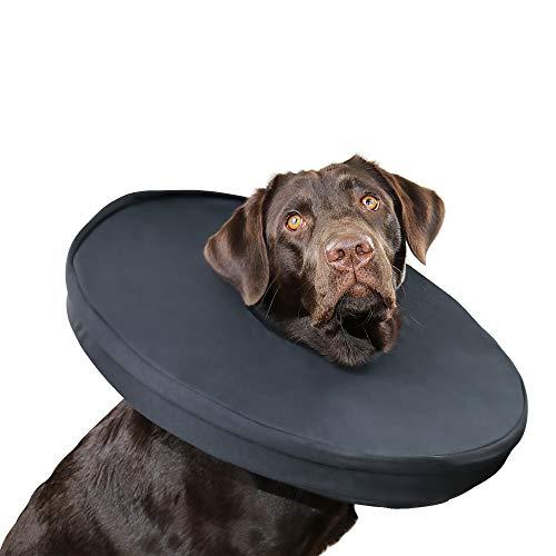 PamperPets Hundekragen, Leckschutz nach OP, Halskrause für mittelgroße bis große Hunde, schwarz, Halskragen Hund, Größe M/L