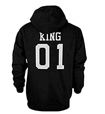 """Qissy® Amants Pull Sweatshirt """"King"""", """"Queen"""" Lettre Imprimer Hoodies Blouse Pulls chemise Casual Tee Shirt Tops (S, KING)"""
