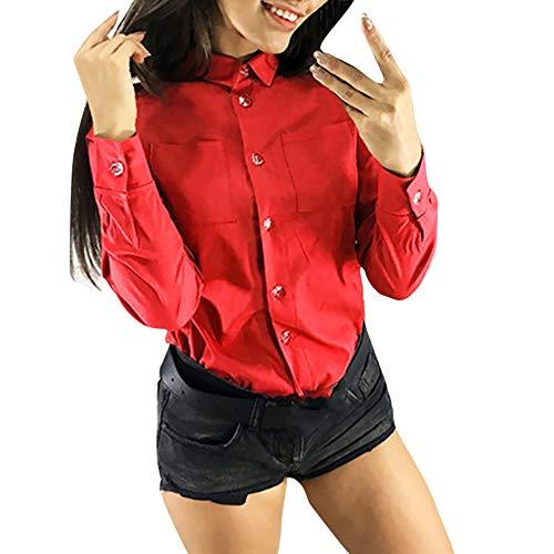 Vovotrade Plus Tee Tops Office Formal Wear Moda Donna Casual Bavero Colletto Tinta Unita Camicetta con Bottoni