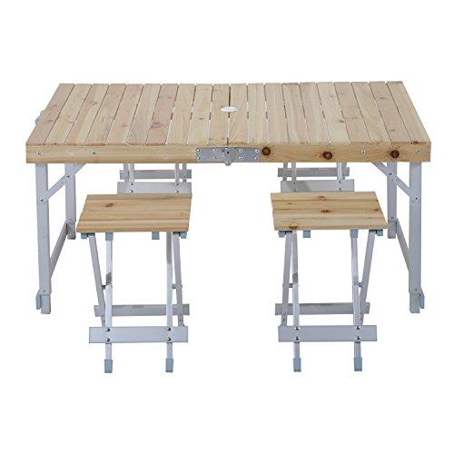 Tavoli E Sedie Da Campeggio Pieghevoli.Outsunny Set Da Campeggio 5 Pezzi Tavolo Picnic Con 4 Sedie