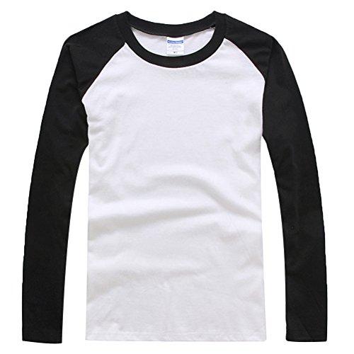Baymate Unisexo Más El Tamaño Beísbol Camisa Con Manga Larga XS Negro