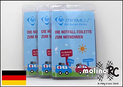 molinoRC 3X Notfall-Toilette | Wegwerf-Toilette | Urinal | Reisetoilette | Minimus Notfall-WC | Kinder Buben Mädchen Erwachsene | | | | |