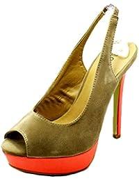 Señoras brillantemente Coloreado Peep Toe de Plataforma Honda Espalda  Sandalias Zapatos 61c21537d608