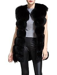 BAINASIQI Donna Elegante Gilet Cappotto di Pelliccia Inverno Cappotto Senza Maniche Faux Fur Giacchetto Giacca Parka