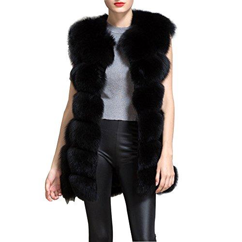 BAINASIQI Femmes Manteau Sans Manche Chaud Outwear Long Mince Gilet Faux Fourrure De Renard Élégant Veste Manteau (M, noir)
