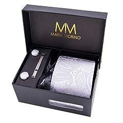 Idea Regalo - MASSI MORINO Uomo Designer Cravatta - Box Set con fazzoletto, Gemelli e Fermacravatta X cucita a mano in microfibra in colori assortiti - confezione regalo (paisley grigio)