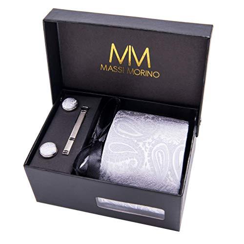 MASSI MORINO Paisley Krawatten - Box Set mit Einstecktuch, Manschettenknöpfe und Krawattennadel, handgenäht aus Mikrofaser Kunstseide in bunten Paisleymuster, inkl. Geschenkbox (Grau)