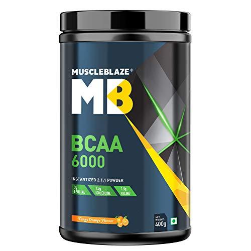 MuscleBlaze BCAA 6000 Amino Acid Powder (Tangy Orange, 0.88 lbs / 400g, 50 Servings)