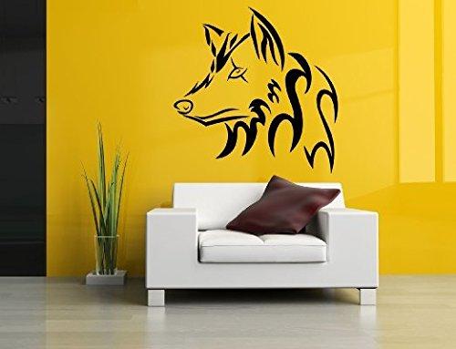 Parete Room decor arte murale in vinile adesivo testa di lupo tribale Poster Foresta Wild Animal Predator