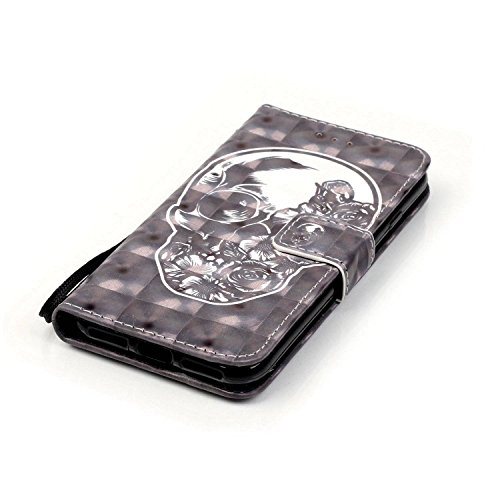 iPhone 7 Custodia, iPhone 7 Custodia Portafoglio, iPhone 7 4.7 Custodia Pelle, JAWSEU Lusso 3D Modello Design Creativo PU Leather Wallet Flip Cover Custodia per iPhone 7 Copertura con Morbida Gel Sili Cranio