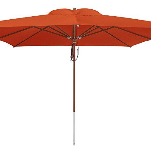 anndora® Sonnenschirm Marktschirm Gastronomie 4 x 4 m quadratisch - mit Winddach Terracotta