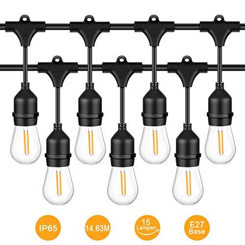 Uchrolls 14.63m LED Lichterkette 15 Hängenden Sockel Schnur Licht mit E27 LED Birnen,IP65 Wasserdicht String Licht als Innen Außen Beleuchtung Deko für Hochzeit Garten Party Haus -
