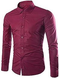 06965468dd7e Gdtime Homme Chemise Manches Longues Slim Fit Uni sans Repassage Chemises  Casual Classique Business Taille Plus