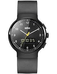 Braun Men's Quartz Watch with Black Dial Analogue-Digital Display and Black rubber Strap BN0159BKBKG