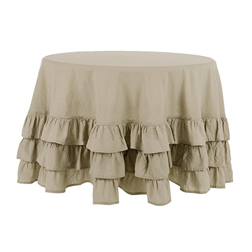 Nappe Couvre Table Nappe Ronde à Volant Shabby Chic et Romantique - Volant - Diamètre 190 cm - Beige - Mixte Coton / Lin