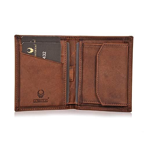 Donbolso Leder Geldbörse Rom - Geldbeutel klein mit RFID Schutz - Mini Portemonnaie für Herren und Damen - Slim Wallet mit Münzfach - Braun