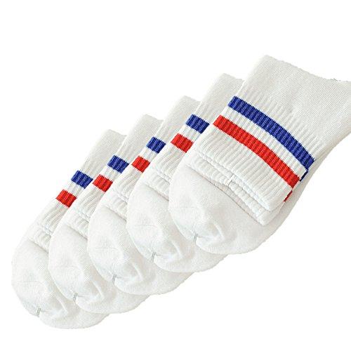 FNKDOR 5 Paar Unisex Socken Bequeme Strümpfe Herren Damen Sneaker Baumwollsocken (Weiß2)