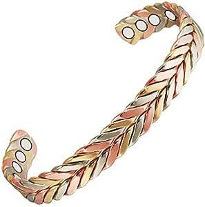 Wollet Jewelry, braccialetto magnetico per combattere l'artrite per uomo e donna; di rame africano, 16,5 cm, intrecciato a tre tonalità, con sei magneti