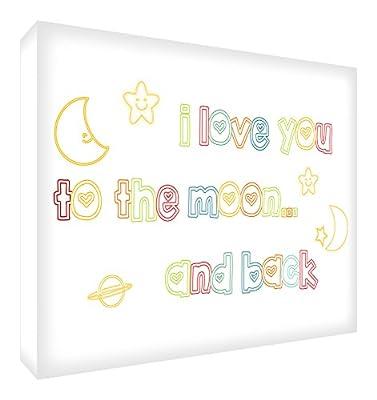 Feel Good Art A2 Deep Box Canvas Nursery Wall Art I Love You To The Moon And Back (60 x 40 x 4 cm, Multicoloured)