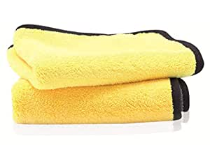 PrimAlite Microfiber Cleaning Cloth 800 GSM for Car & Motorbike- Pack of 2 (30 x 30 cm) for Home & Kitchen, Mobile, Laptop, Office- Lint Free Dual Layer Ultra-Thick Super Absorbent Towel- Grey+Yellow
