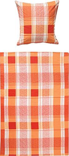 REDBEST warme Bettwäsche, Bettgarnitur Flanell karo orange-Terra, Größe 155x220 cm (40x80 cm) - atmungsaktiv, pflegeleicht, bügelleicht, temperaturausgleichend, mit Knopfverschluss - Karo-flanell-bettwäsche