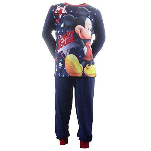 4700 Kinder Pyjama Schlafanzug Shirt u. Hose - DISNEY MICKEY MOUSE - MICKEY MAUS (blau-dunkelblau, 128) (Mickey-mouse-baumwolle Pyjamas)