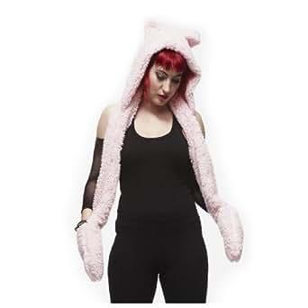 Hell Bunny Shaggy - Bonnet, écharpe, moufles tout-en-un - texture peluche rose