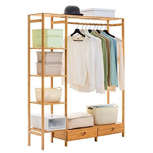 FEIFEI 3 dans 1 cintre en bambou de support de plancher de ménage de porte-manteau multifonctionnel avec le support de stockage de tiroir, support de chaussure, 122 * 30 * 146CM