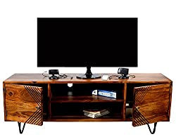 TimberTaste Sheesham Wood JACK 1.45 Meter 2 Door TV Unit Cabinet Entertainment Stand (Natural Teak Wood Finish)