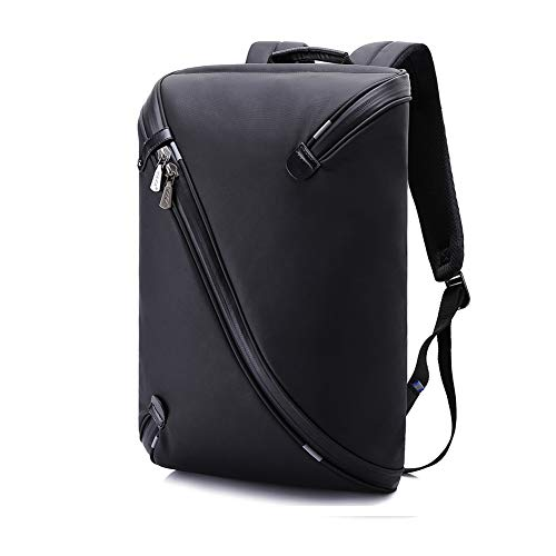 PLAQV Oxford-Tuch Herren Rucksack mit USB-Ladeanschluss Diebstahlsicherung Wasserdichte Laptop Rucksack Doppel Schulter Studententasche,Black