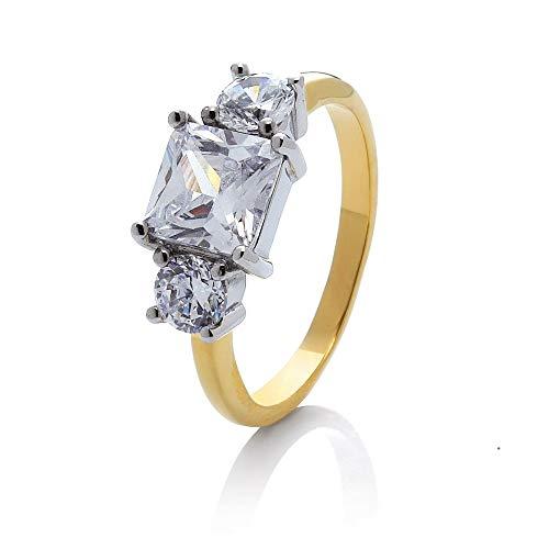 prettique Stars&Royals Damen Ring Meghan - 18 Karat Vergoldet - Zirkonia Steine - Goldring - Royal - Verlobungsring aus dem britischen Königshaus - Empfohlen von Bunte.de