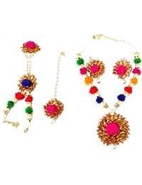 Floret Jewellery Pink Gota Patti,Pearl & Floral Jewellery Set For Women/Girls