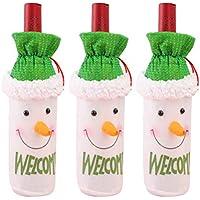 BESTOYARD 3 unids Cubierta de la Botella de Navidad Bolsa de Muñeco de Nieve Cubierta de la Botella de Vino Decoración Bolsa Cena Fiesta Mesa Decoración