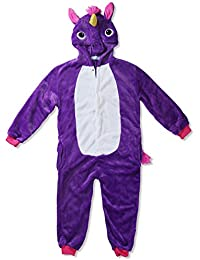 Kigurumi Mameluco Pijama con Capucha para Niños - Traje Disfraz Infantil de Animal para Otoño, Invierno Unicornio Lila 8-10 años