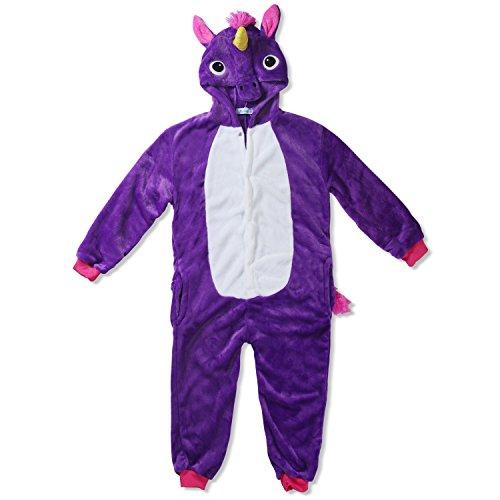 Kinder Fleece Onesie - Unicorn Kostüm 2 - 9 Jahre - Gemütlicher Jumpsuit für Fasching, Cosplay, Karneval - Plüsch Verkleidung für Party als witziges Einhorn (Kostüm Lila Minions)