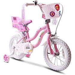 COEWSKE Vélo pour Enfants avec Cadre en Acier pour Enfants, Style Little Princess, 14 Pouces, avec Roue d'entraînement (Rose)
