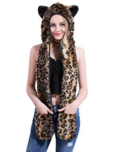 AIVTALK Plüsch Schals Kunstpelz Schal Mütze mit Ohren Handschuhe Unisex Kapuzenschal Winter Warm Fellmütze 3-in-1 Kapuze Halloween Karneval Party Kostüme - Leopardenprint 2