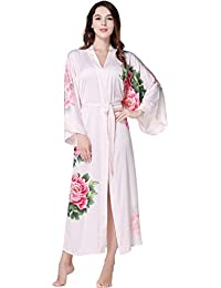 ArtiDeco Kimono Floral Robe Traje de Boda Kimono de Seda Túnica de Satén 1920s Ropa de