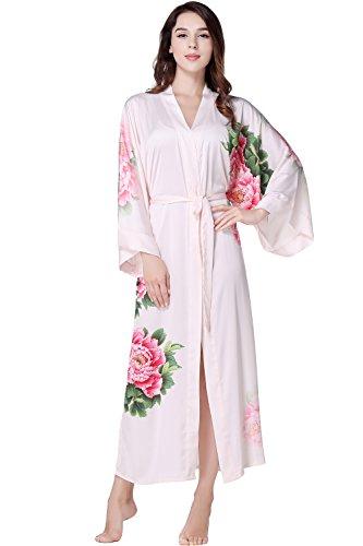 ArtiDeco Damen Morgenmantel Maxi Lang Seide Satin Kimono Kleid Blüten Muster Kimono Bademantel Damen Lange Robe Blumen Schlafmantel Girl...