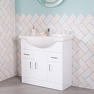 Aquariss Badmöbel Badezimmermöbel Waschbecken Unterschrank Freistehend 850mm Weiß