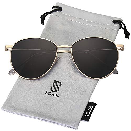SOJOS Schick Metall Runde Sonnenbrille Damen Herren Polarisiert DEWDROP (C5 Gold Rahmen/Grau Linse)