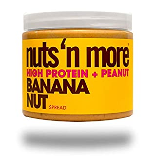 Nuts 'n More Banana Nut Peanut Spread, Keto, High Protein Nut Butter Snack, Low Carb, Low Sugar, Gluten Free, All Natural, 16 oz Jar