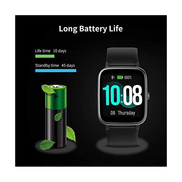 Smart Watch Bluetooth 5.0 Reloj Inteligente Impermeable IP68 Actividad GPS Sueño Pulsómetros Podómetro Caloría Deporte Fitness Música Control Despertador Pantalla Táctil Completa para Android iPhone 2