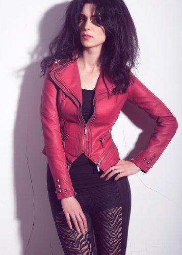 Rockige dunkelrote PU Kunstleder Moto Jacke mit Nieten Spikes Rot