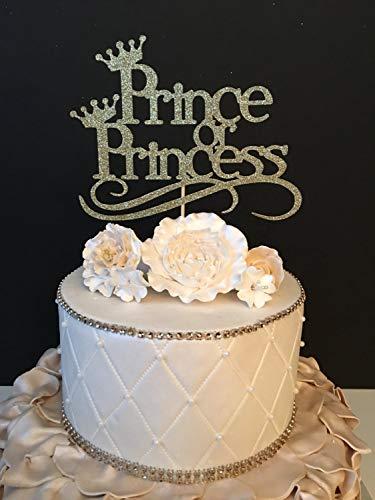 Monsety Prinz oder Prinzessin Baby Sprinkle Babyparty Geschlecht Enthüllt Jede Farbe Hochzeit Kuchen Topper für Braut und Bräutigam, Hochzeitsgeschenk, rustikaler Tortenaufsatz für Paare