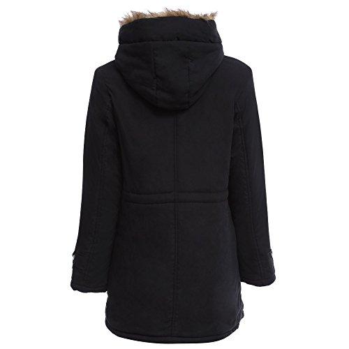 CharMma Jacke/Mantel für Damen, warm, Winter, Kunstfell, Taillen-Tunnelzug Schwarz