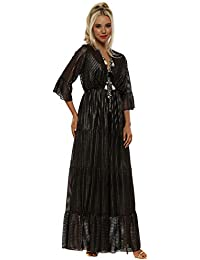 ec2c03866165 My Story Bronze Metallic Pleated Ribbon Maxi Dress